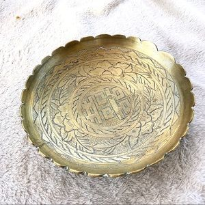 Vintage 1930s Chinese engraved brass footed bowl